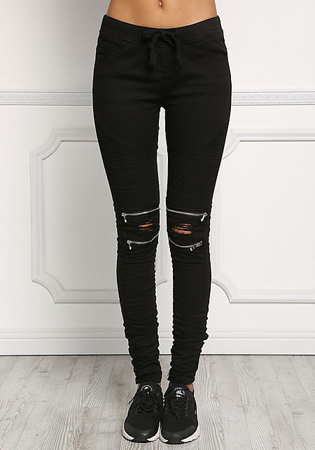 Black Embossed & Distressed Zipper Trim Skinny Jeans