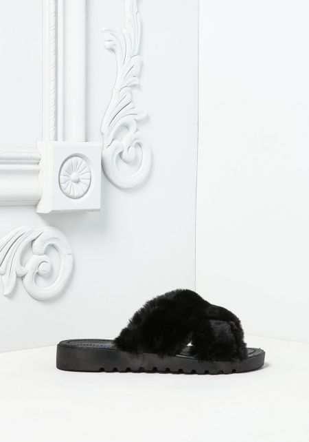 Black Crossover Faux Fur Slide Sandals