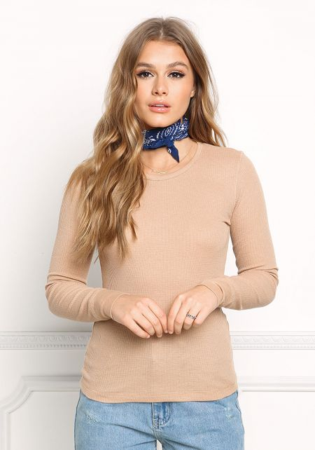 Camel Thermal Pullover Top