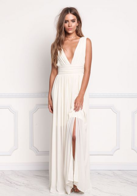 Cream Plunge Front Slit Chiffon Maxi Gown