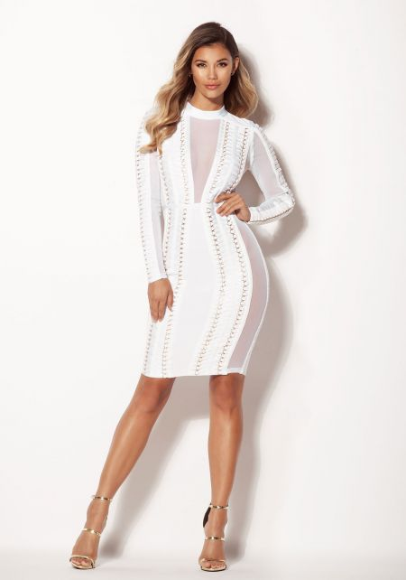 Off White Mesh Multi Strap Bandage Bodycon Dress