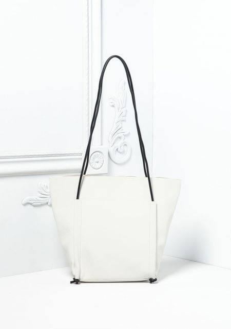White Leatherette Tote Bag with Pouch