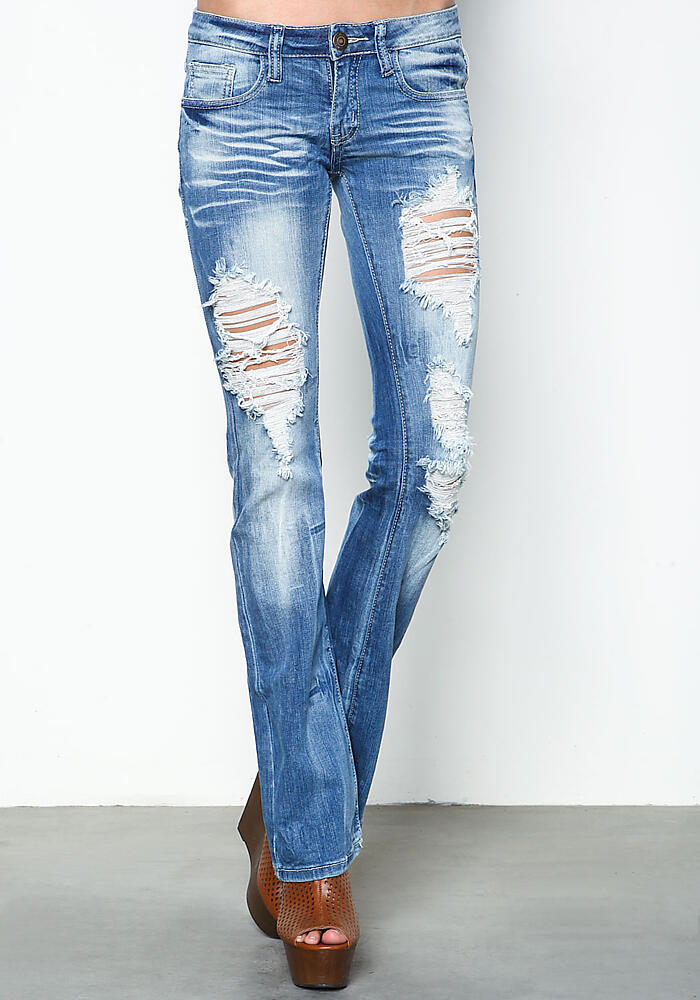 Distressed Light Wash Bootcut Jeans