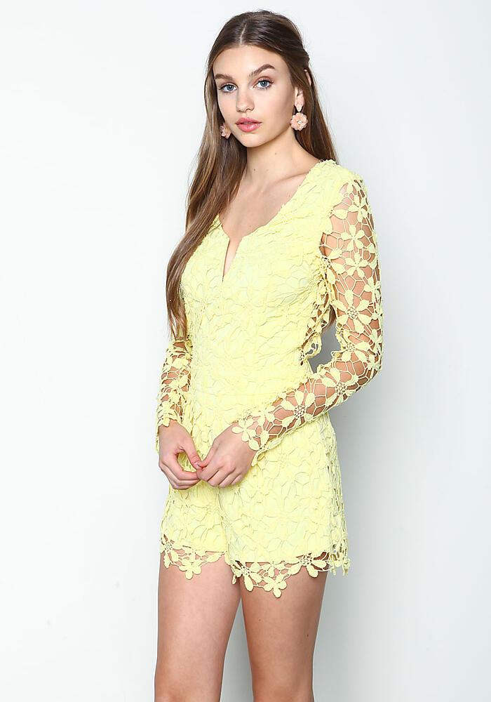 Lemon Floral Bloom Crochet Romper