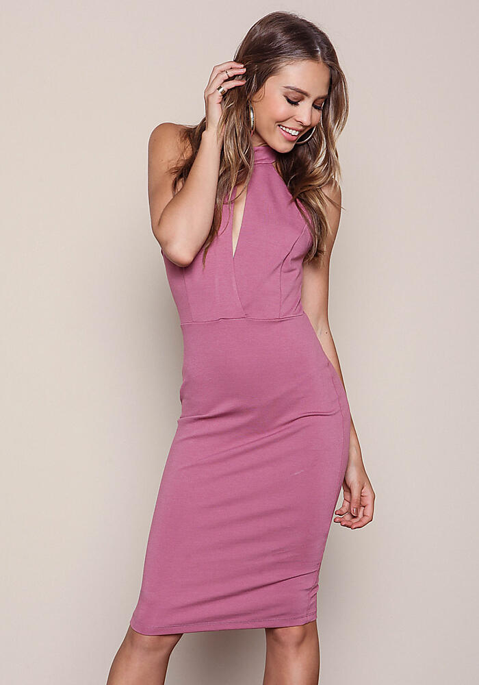 Mauve Strappy Back Keyhole Midi Dress