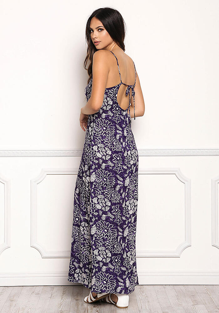 Indigo Gauze Floral Scoop Maxi Dress