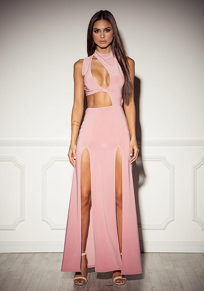 Mauve Cut Out High Slit Maxi Dress Bodycon Dresses