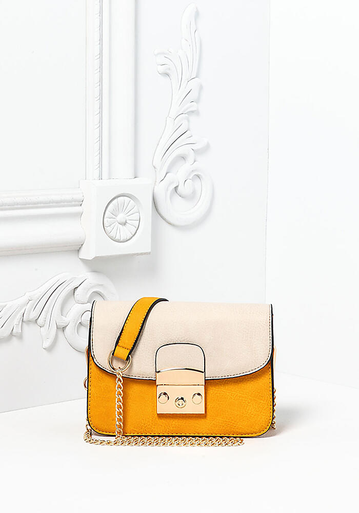 love culture mustard leatherette button snap crossbody bag