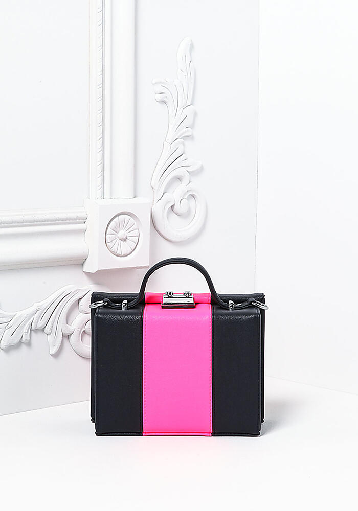 love culture fuchsia leatherette square box bag