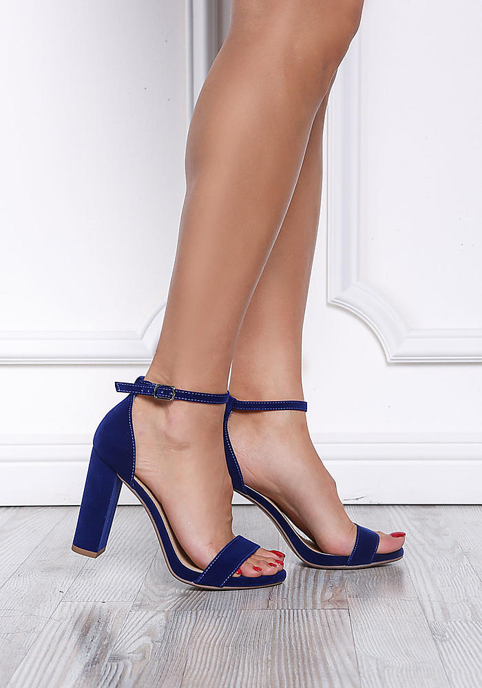 royal blue velvet ankle strap block heels