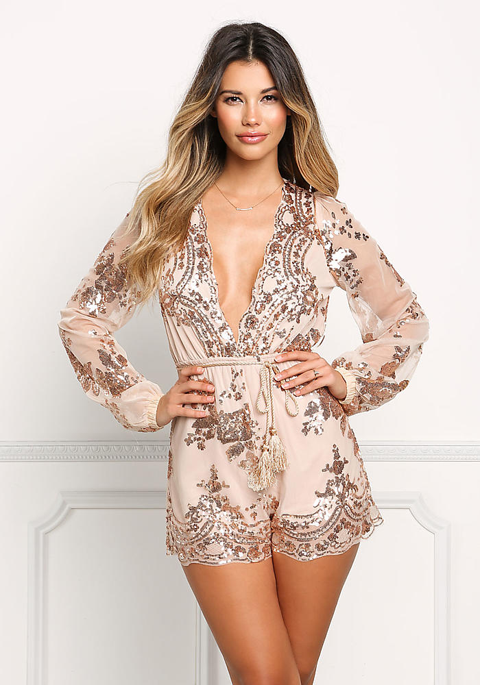 Rose Gold Sequin Plunge Tulle Romper