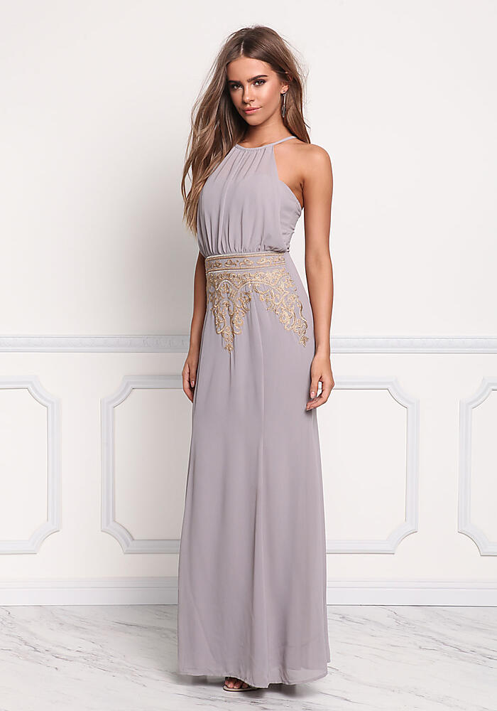 light grey chiffon embroidered maxi gown dresses