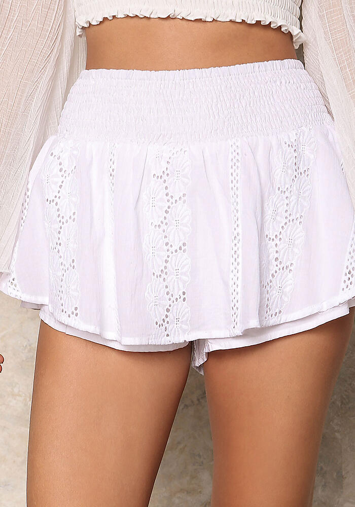 love culture white ruched linen embroidered shorts