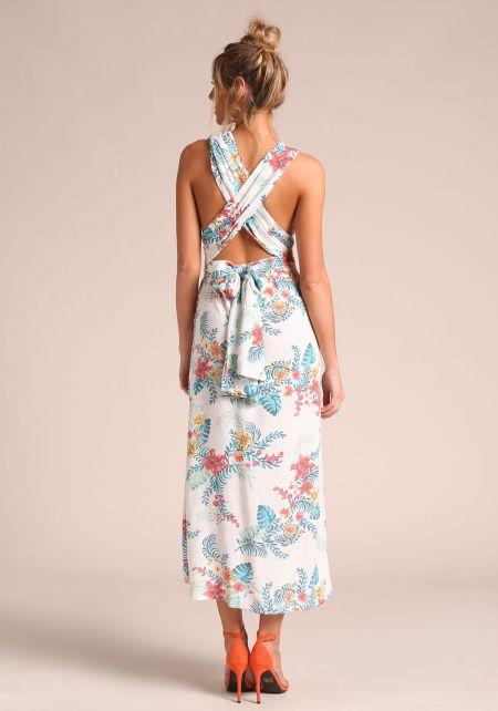 White Floral Magic Tie Maxi Dress