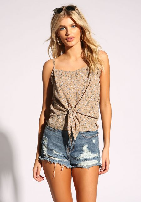 Taupe Floral Tie Front Tank Top