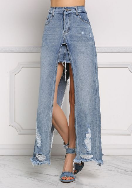 Denim Distressed Hi-Lo Slit Maxi Skirt