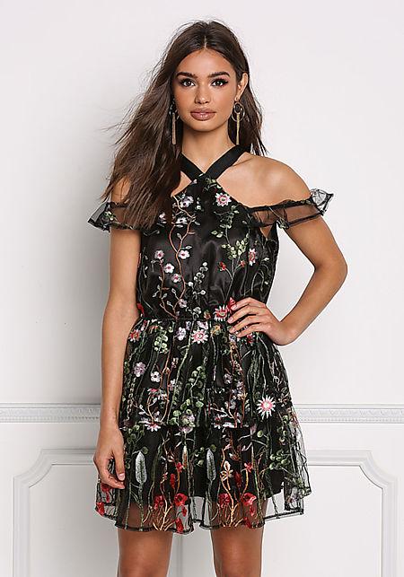 Black Tulle Floral Cold Shoulder Flared Dress
