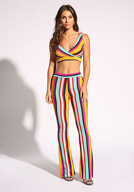 Multi Stripe High Rise Pants
