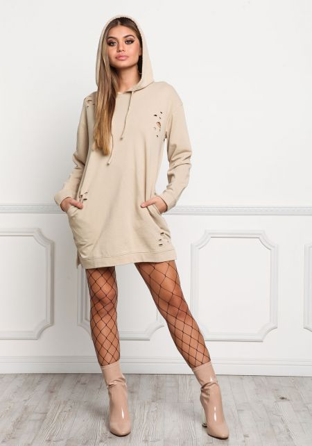 Taupe Distressed Hooded Pocket Dress