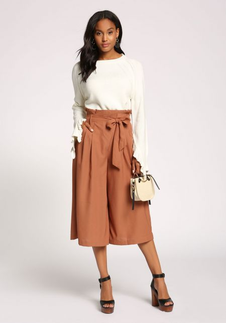 Rust Paperbag Cropped Palazzo Pants