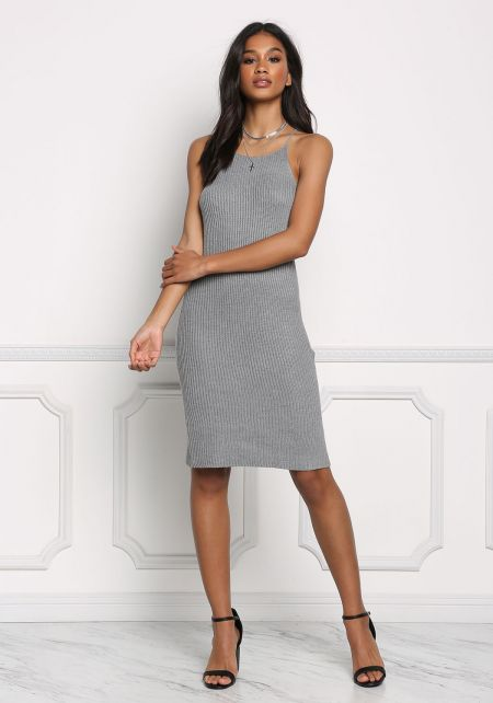 Grey Purl Knit Racerback Dress