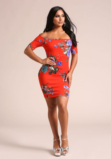 Red Rose Off Shoulder Bodycon Dress