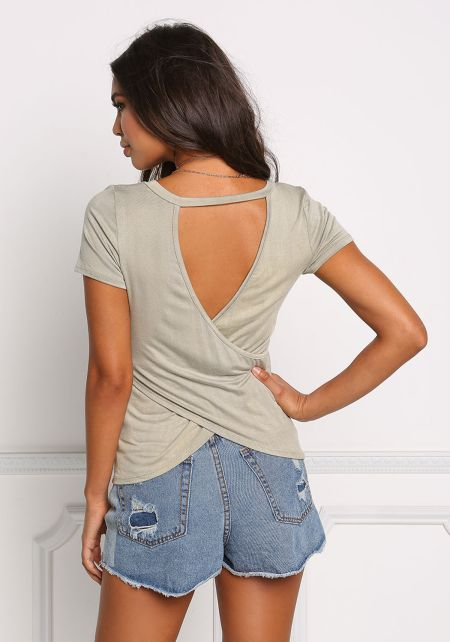 Sage V Cut Out Surplice Knit Tee
