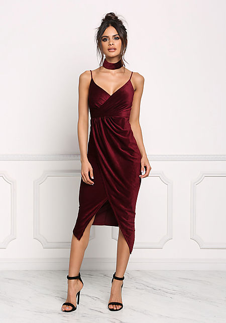 Burgundy Velvet Faux Wrap Choker Dress