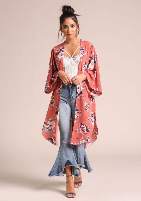 Rose Floral Slit Bell Sleeve Kimono