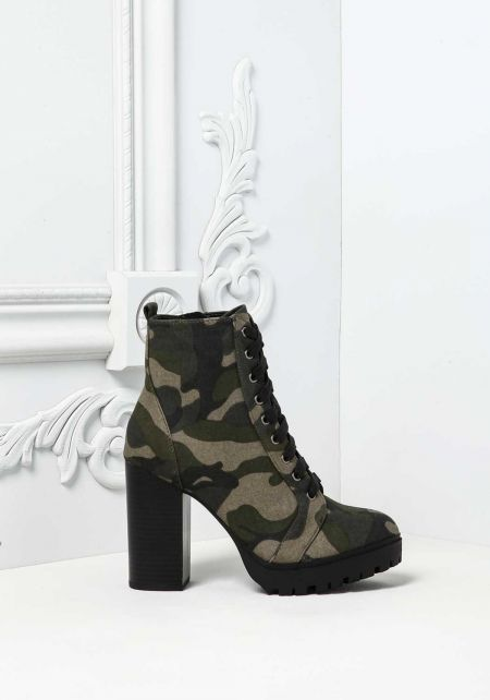 Camouflage Lace Up Block Heel Combat Boots