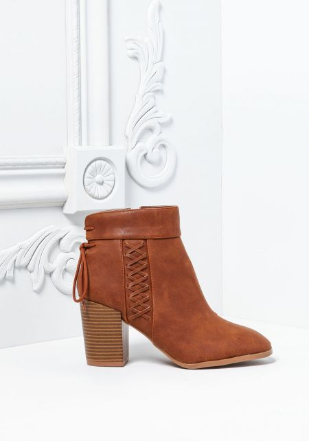 Camel Leatherette Criss Cross Stacked Booties