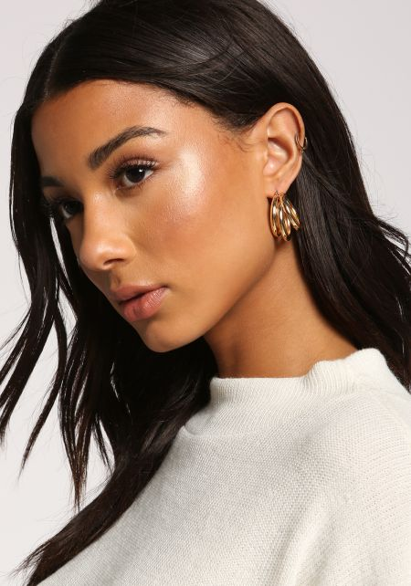 Gold Three C Hoop Earrings