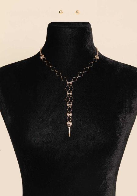 Gold Diamond Rhinestone Drop Necklace