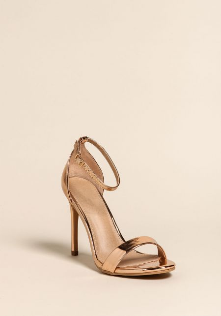 Rose Gold Chrome Ankle Strap Stiletto Heels