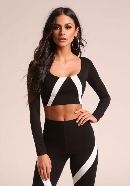 Black Color Block Stripe Crop Top