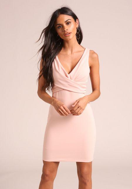 Blush Gathered Bodycon Dress