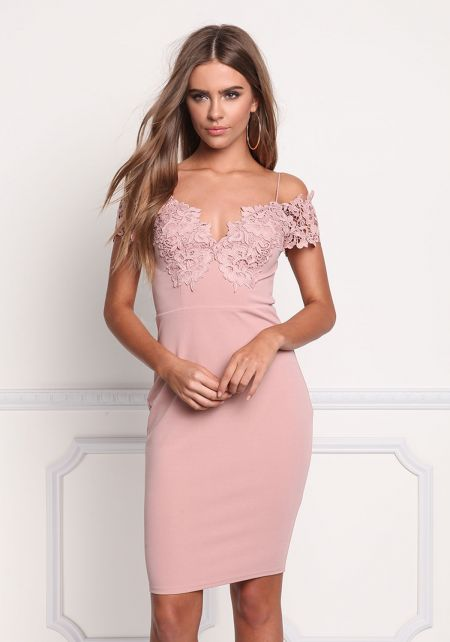Mauve Floral Applique Off Shoulder Bodycon Dress