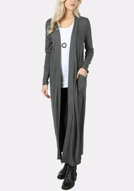 Charcoal Duster Longlined Cardigan
