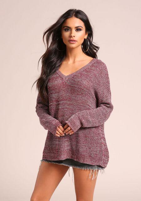 Burgundy Marled V Neck Sweater Top