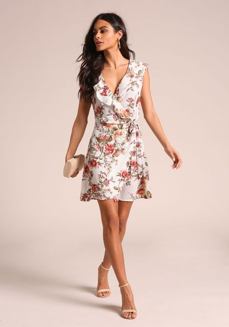 Floral Ruffle Wrap Flared Dress