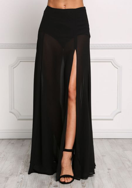 Black High Rise Slit Maxi Skirt