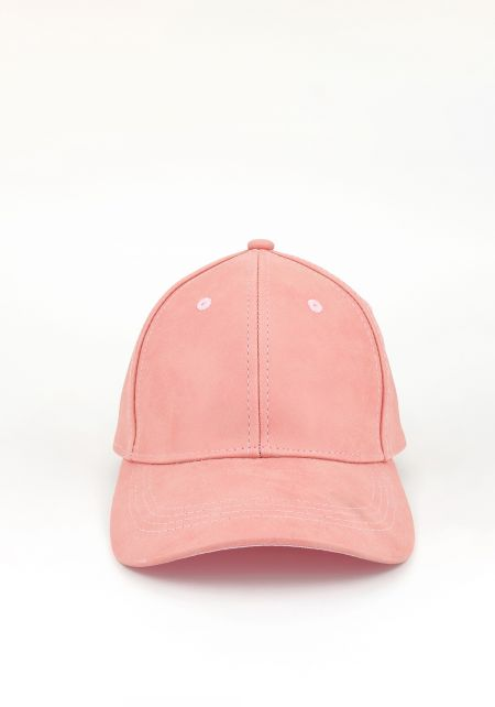 Pink Suedette Baseball Cap