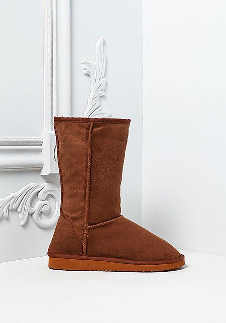 Camel Faux Fur Suedette Boots