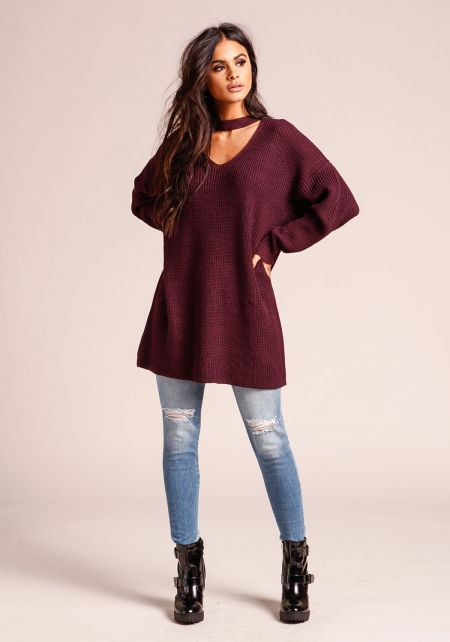 Plum Choker Cut Out Thick Knit Tunic Sweater Top