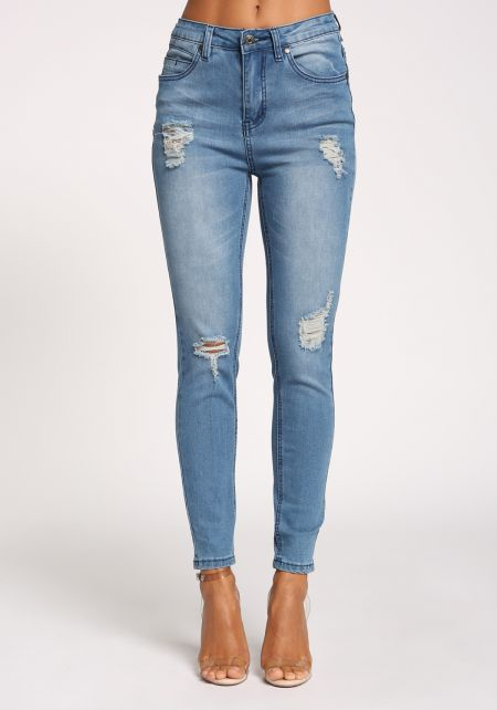 Medium Denim Distressed Skinny Jeans