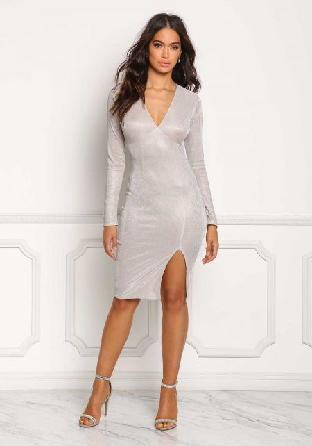 Champagne Sparkle Plunge Slit Bodycon Dress