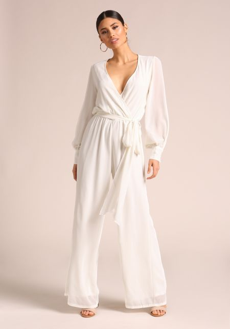 Ivory Puff Sleeve Wide Legged Jumpsuit