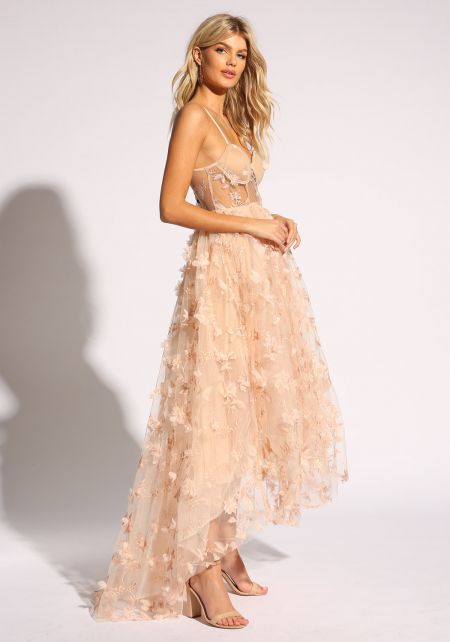 Blush Floral Applique Tulle Flared Gown