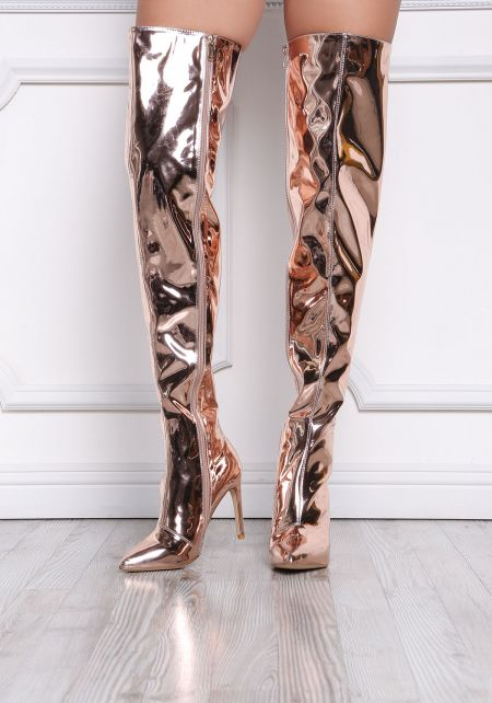 Rose Gold Patent Thigh High Boots