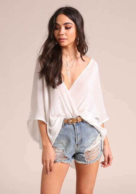 White Surplice Hi-Lo Blouse